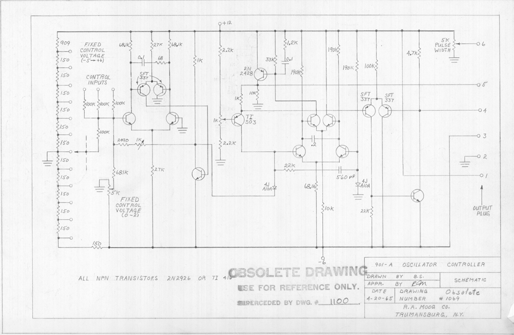Bob Moog schematics: Release 1 for our 8th anniversary