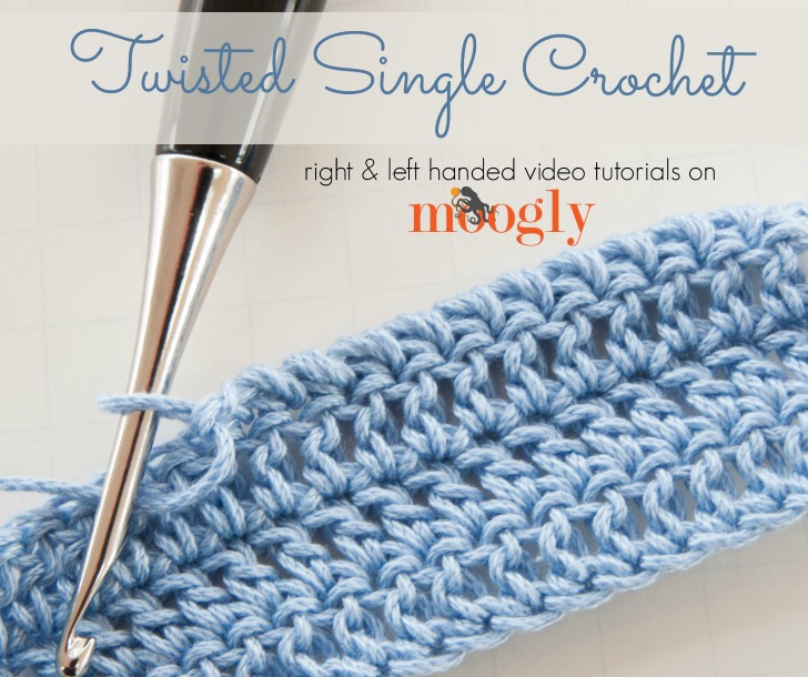 Twisted Single Crochet - learn how to crochet this fun alternative to the Crab Stitch with right and left handed video tutorials on Mooglyblog.com!
