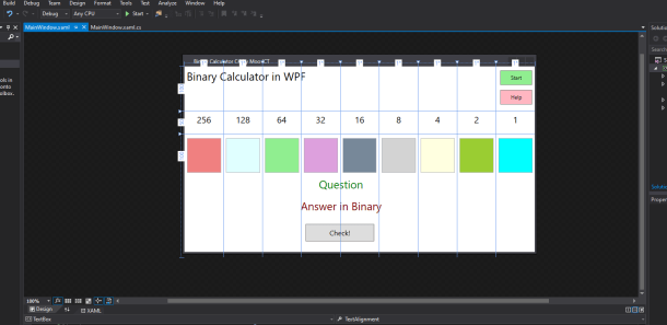 mooict wpf c# Binary Calculator game updated window screen shot