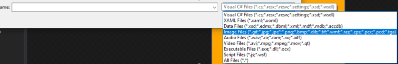 mooict wpf c# save the presents game - change the file type in windows explorer to find the images to import