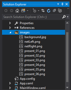 mooict wpf c# save the presents game - screen shot of images imported in the images folder in visual studio