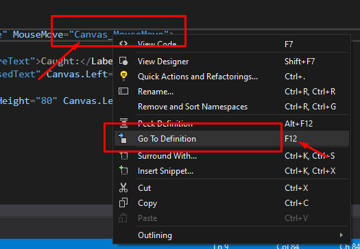 mooict wpf c# save the presents game - adding the mouse move event from xaml to c#