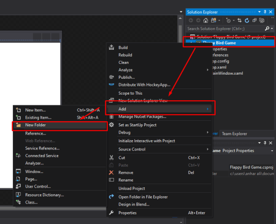 mooict flappy bird wpf c# tutorial - make a new folder in visual studio solutions explorer