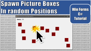 randomly position picture boxes and click to remove them in c# and windows forms application in visual studio tutorial thumbnail