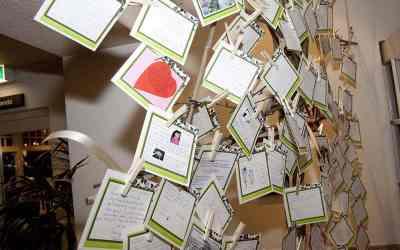 Kaartjes ophangen als gastenboek