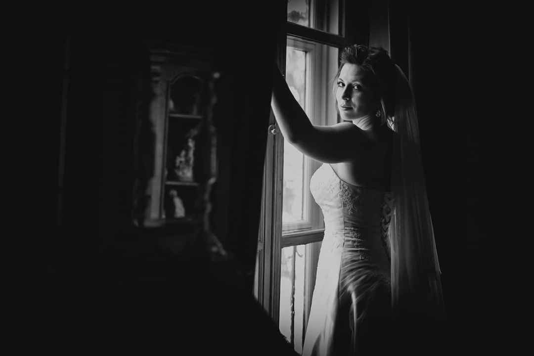 bruid zwart-witfoto Lisse