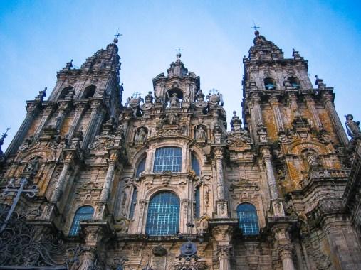 Façade van de Kathedraal van Santiago de Compostella