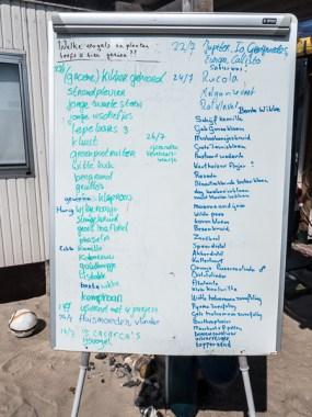 Whiteboard met waargenomen (vogel)soorten