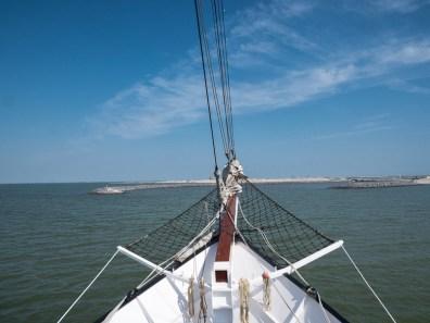 Net voor de aankomst op het Haveneiland
