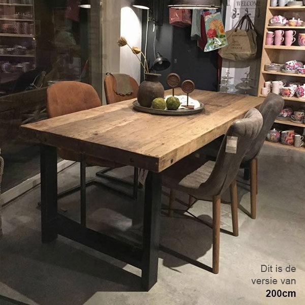 Eettafel gerecycled hout met metalen onderstel 220x95cm