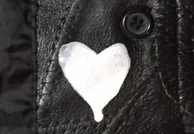 acrylic paint on black leather jacket