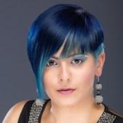 blue hair dye tips black