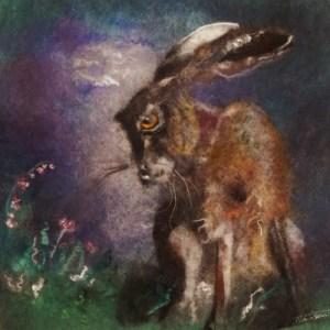 Wool art night hare
