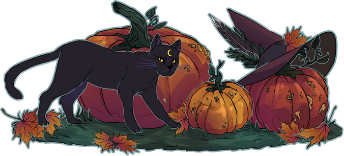 autumn style witch black cat