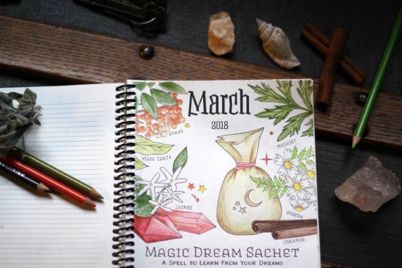 Coloring Book of Shadows Planner 2018 March