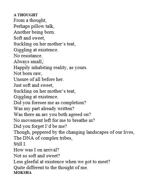 a thought poem moksha