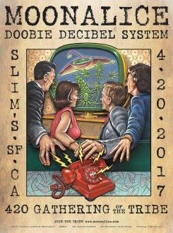 M947 › 4/20/17 420 Gathering of the Tribe, Slim's, San Francisco, CA poster by Dennis Larkins with Doobie Decibel System