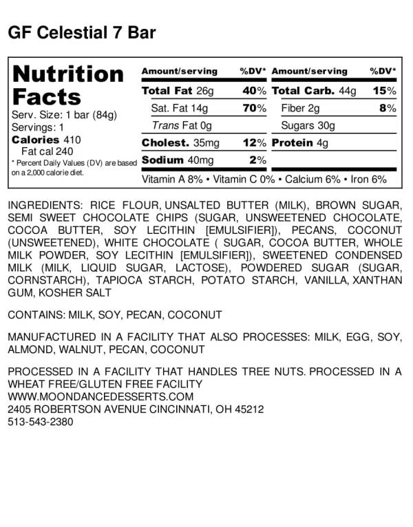 moondance, 7 layer bar, nutrition label, gluten free