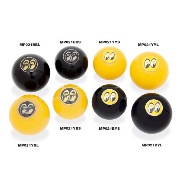 Mooneyes MOON Original Universal Shifter Knobs Yellow or Black MQQN Logo on Ball