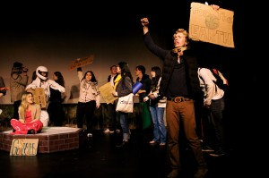 "A reenactment of the Occupy Toronto events in Rosamund Small's ""Performing Occupy Toronto,"" which forms the second half of Docket Theatre's ""Staging a Rebellion."""