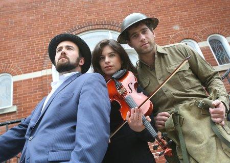 Cast of A Simple Twist of Faith, (L-R) Evan Malach, Sonia Shklarov, Adam Jesin. Photo by Darren Gilbert Levant !
