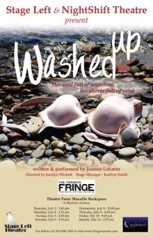 "Poster for Washed Up, featuring a bra washed up on a rocky beach. Text reads, ""Her soul full of searching, her shorts full of sand"""