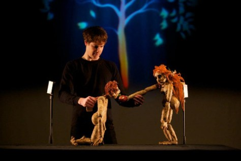 Photo of Paul Van Dyck and puppets from Paradise Lost at the 2018 Toronto Fringe Festival.