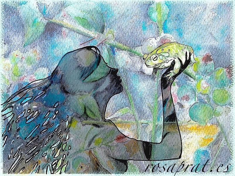 Acuarelas Rosa Prat. Dibujo digital a partir de fotografía.