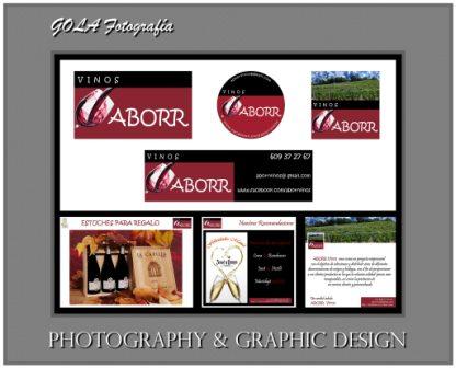 Montaje realizado con las etiquetas de ABORR Vinos  de Gola Fotografía