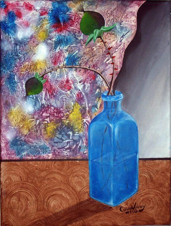 Naturalezas. Destino natural en azul. (Acrílico sobre lienzo 30x40)