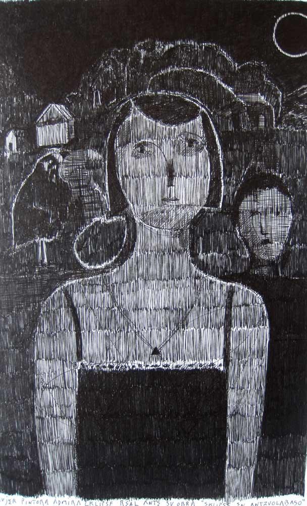 José María Sasieta. Fotografía. Arte. Artista admira eclipse real ante su obra eclipse en Antzuolabaso.