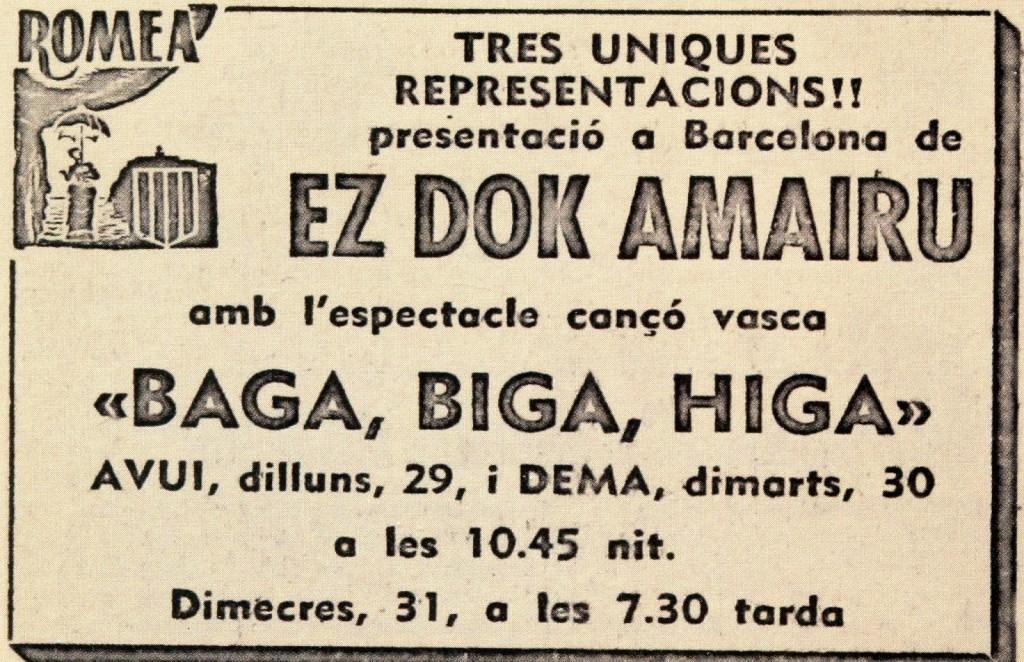 "Nueva Canción Vasca. Ez Dok Amairu. Programa de mano de ""Baga, biga, higa sentikaria""."