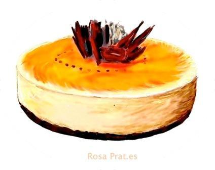 Luna de cosecha de Rosa Prat. Tarta Mousse de Lúcuma. Dibujo digital by Rosa Prat.