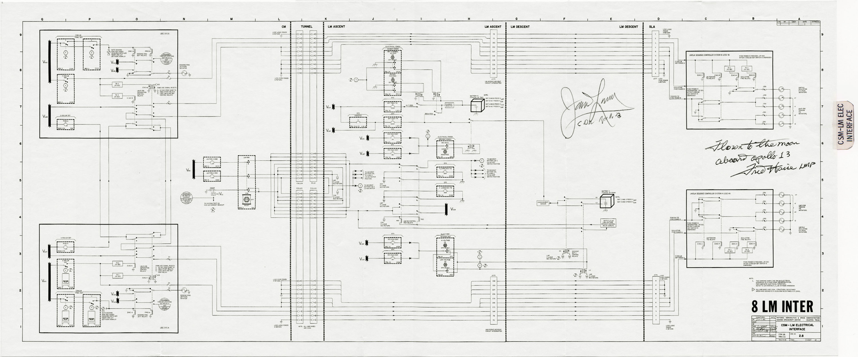 Apollo 13 Flown To The Moon Csm Lm Elec Interface Schematic