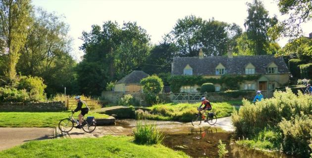 Bainton Bikes - crossing the ford at The Slaughters