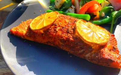 Cedar Plank Salmon with Green Bean, Tomato and Haloumi Salad