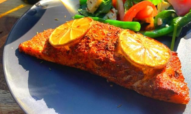 Cedar Plank Salmon with Green Bean, Tomato and Haloumi Salad