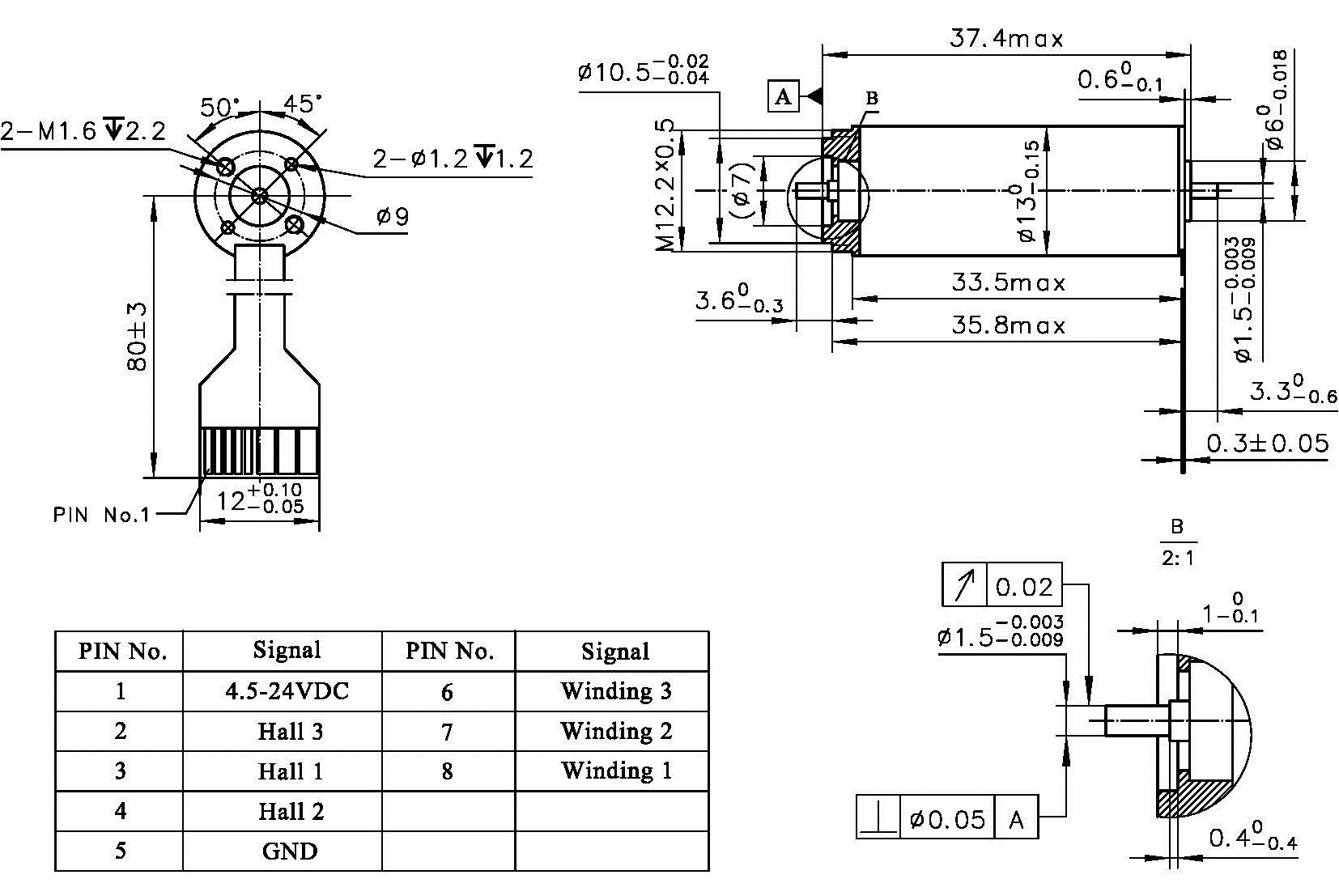 hight resolution of slotless high speed brushless dc motor ecu13 dimensions