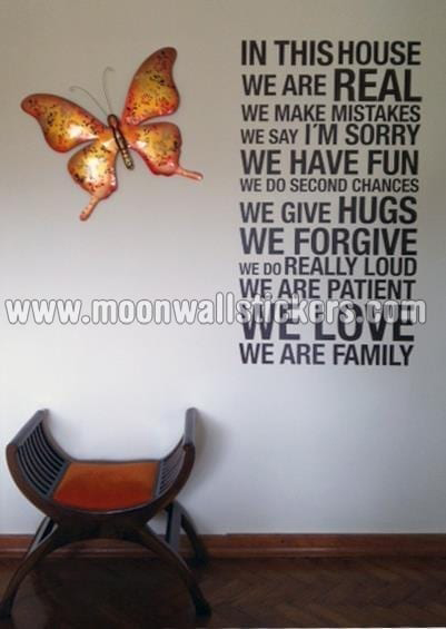 In This House We Are Real Wall Sticker  Moonwallstickerscom