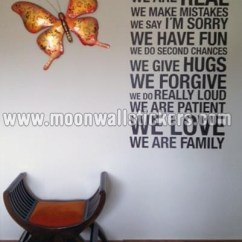 Kitchen Tiles Wall Wooden Ladder Back Chairs In This House We Are Real Sticker - Moonwallstickers.com