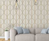 Art Deco Leaves Removable Wallpaper - Moonwallstickers.com