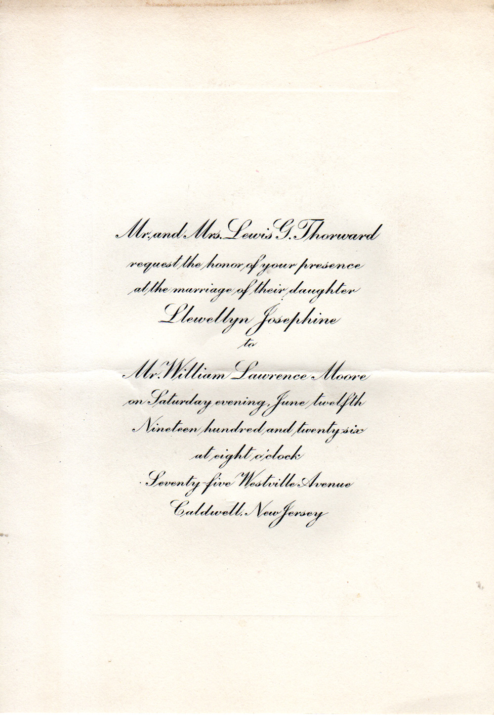 wedding invitation from 1926