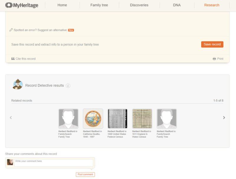 MyHeritage Record Detective