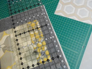 Trimming quilted bag sections to the same size