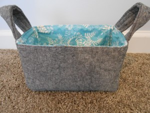 Fabric Basket Sewn and Pressed