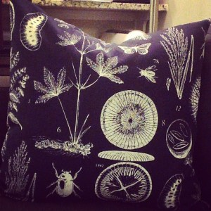 James made a throw pillow out of Ikea fabric