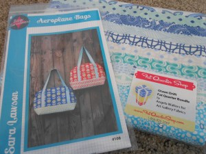 Aeroplane bag pattern and Ocean Drift fabric