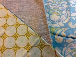 Modern Fabric blue green gray Kate Spain Westminster Moda Zen Chic Free Spirit