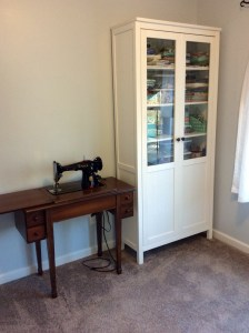 Craft Room cabinet vintage sewing machine