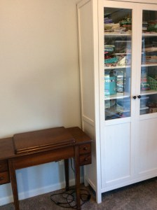 Craft room singer 201 2 vintage sewing machine table closed up